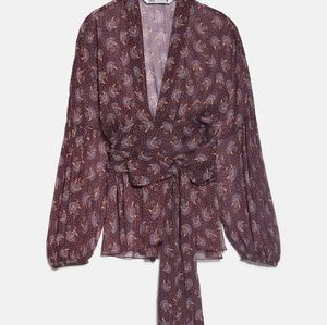 Zara chiffon wrap top